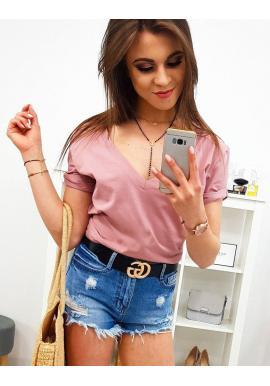 9e942ef4f461 ... Dámske bavlnené tričko s potlačou v pastelovo ružovej farbe