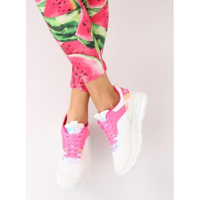Ružové semišové tenisky s mašľou pre dámy
