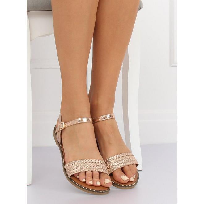Zlaté lakované sandále pre dámy
