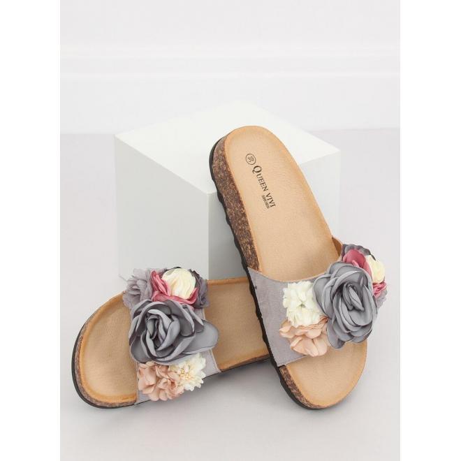 Dámske semišové šľapky s farebnými kvetmi v ružovej farbe