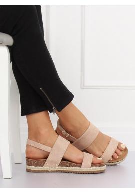 Dámske semišové sandále na korkovej podrážke v čiernej farbe