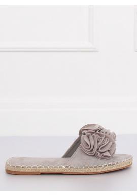 e0e0ca591e5b Semišové dámske šľapky sivej farby s farebnými kvetmi ...