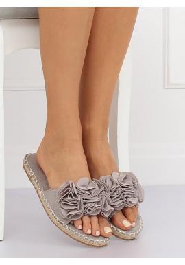 Semišové dámske šľapky sivej farby s farebnými kvetmi