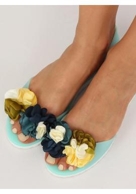 Dámske gumené balerínky s kvetmi v čiernej farbe