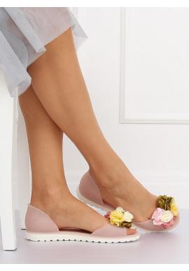 Ružové gumené balerínky s kvetmi pre dámy