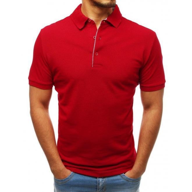 Pánska bavlnená polokošeľa v červenej farbe