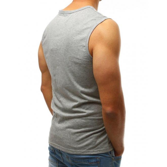 Pánske klasické tričko bez rukávov v bielej farbe