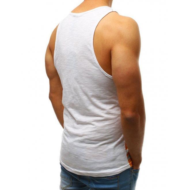 Tmavomodré štýlové tričko s potlačou pre pánov