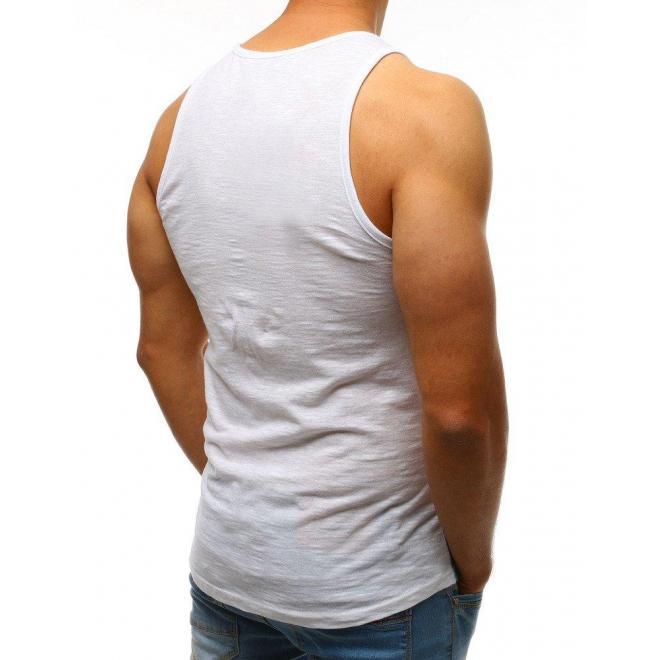 Biele štýlové tričko s farebnou potlačou pre pánov