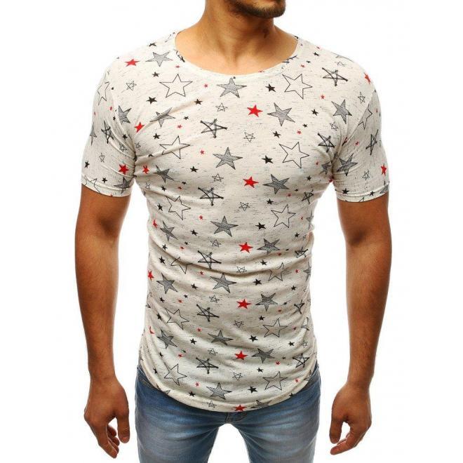 Pásikavé pánske tričko bordovej farby s krátkym rukávom