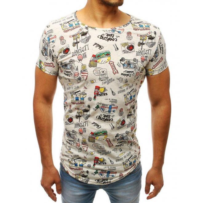 Biele štýlové tričko s palmami pre pánov