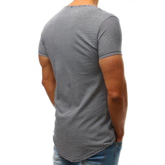 Pánske pásikavé tričko s krátkym rukávom v bielej farbe