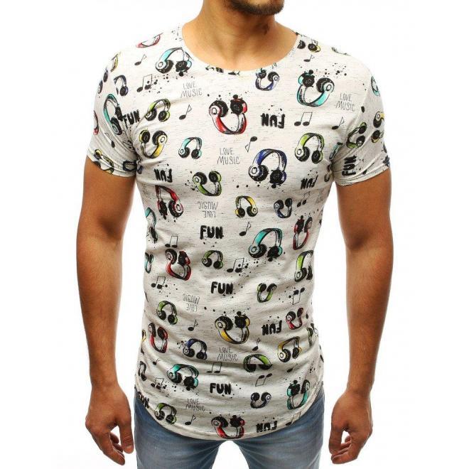 Biele štýlové tričko s farebným motívom listov pre pánov