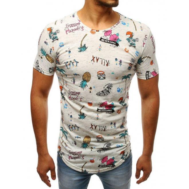 Biele štýlové tričko s farebným motívom slúchatiek pre pánov