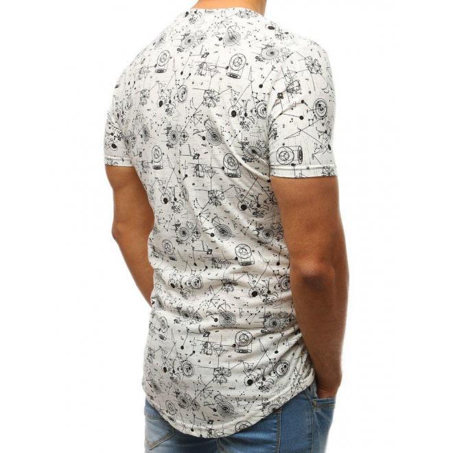 Pánske bavlnené tričko s potlačou v bielej farbe