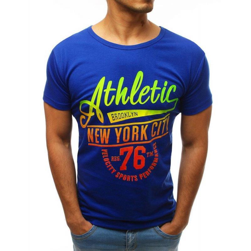 0a30f75d4c2e Modré štýlové tričko s potlačou pre pánov - skvelamoda.sk