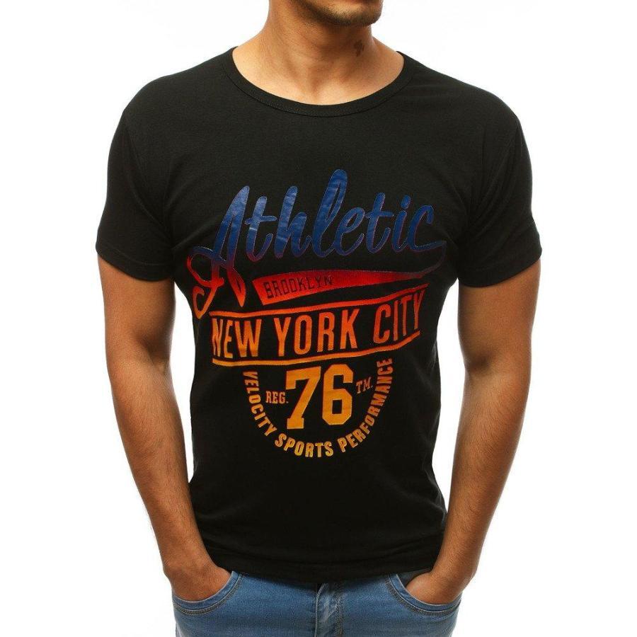 30176618b155 Pánske štýlové tričko s potlačou v čiernej farbe. Novinka. Modré štýlové  tričko s potlačou pre pánov. Loading zoom