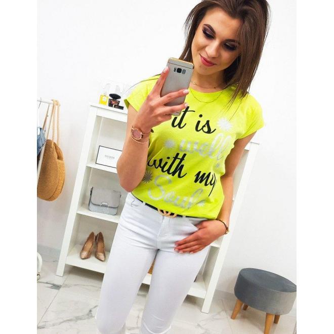Dámske štýlové tričko s potlačou v smotanovej farbe