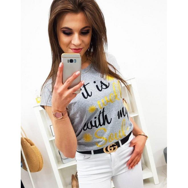 Dámske štýlové tričko s potlačou v limetkovej farbe