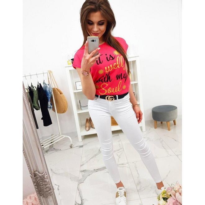 Štýlové dámske tričko bielej farby s potlačou
