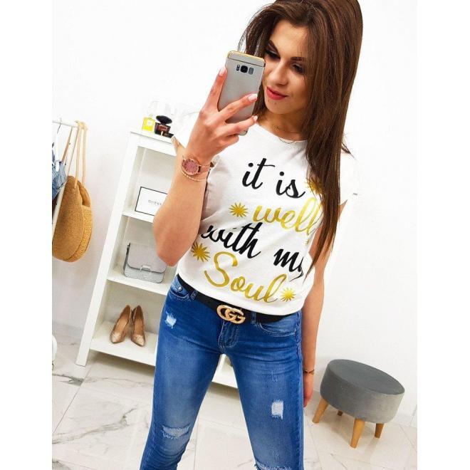 Žlté štýlové tričko s potlačou pre dámy