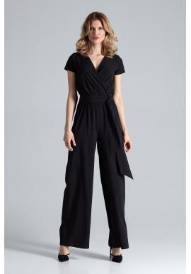 Čierny elegantný overal so širokými nohavicami pre dámy