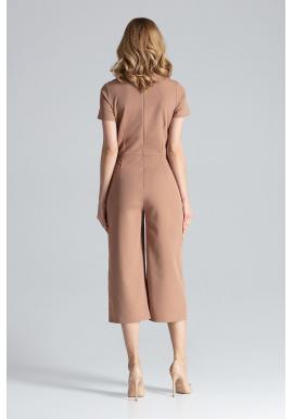 Dámsky vzorovaný overal s dlhými širokými nohavicami v béžovej farbe