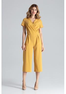f7627123b839 Elegantný dámsky overal hnedej farby so širokými nohavicami ...