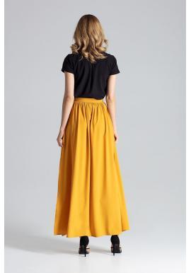 Dámska dlhá sukňa s nariasením v páse v korálovej farbe