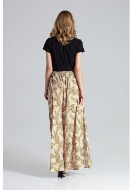 Dlhá dámska sukňa čiernej farby s nariasením v páse