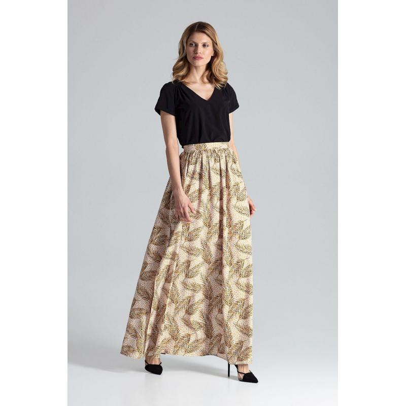 59d021d356f8f Dlhá dámska sukňa béžovej farby so vzorom - skvelamoda.sk