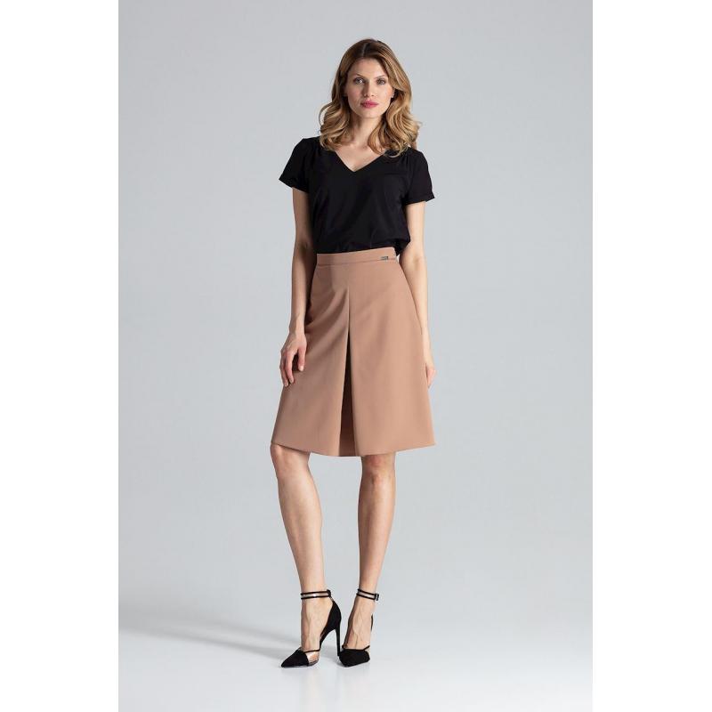 deb4f8dfc95d Dámska dlhá sukňa s nariasením v páse v korálovej farbe
