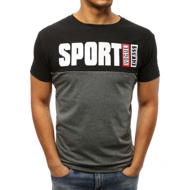 Pánske štýlové tričko s potlačou v bielo-sivej farbe