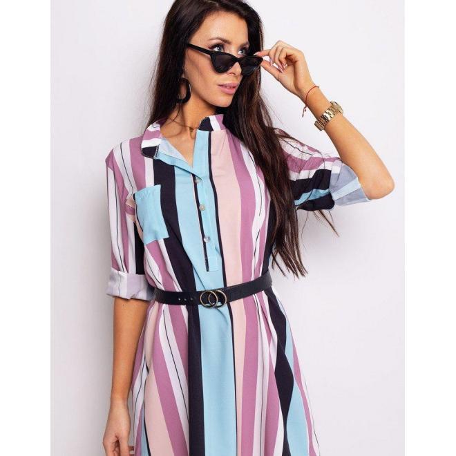 Dámske košeľové šaty s viazaním v páse v modrej farbe