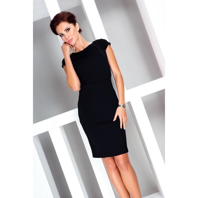 Dámske elegantné šaty s krátkym rukávom - čierne