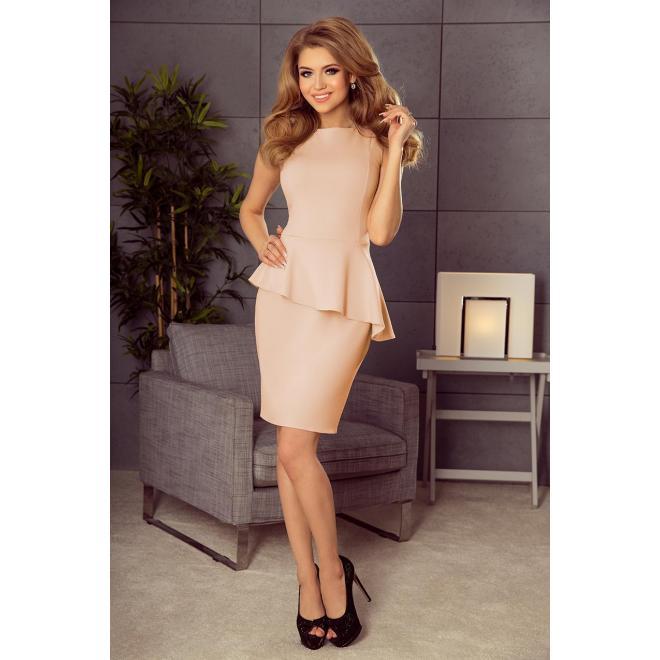 Ružové elegantné šaty s asymetrickým volánom pre dámy