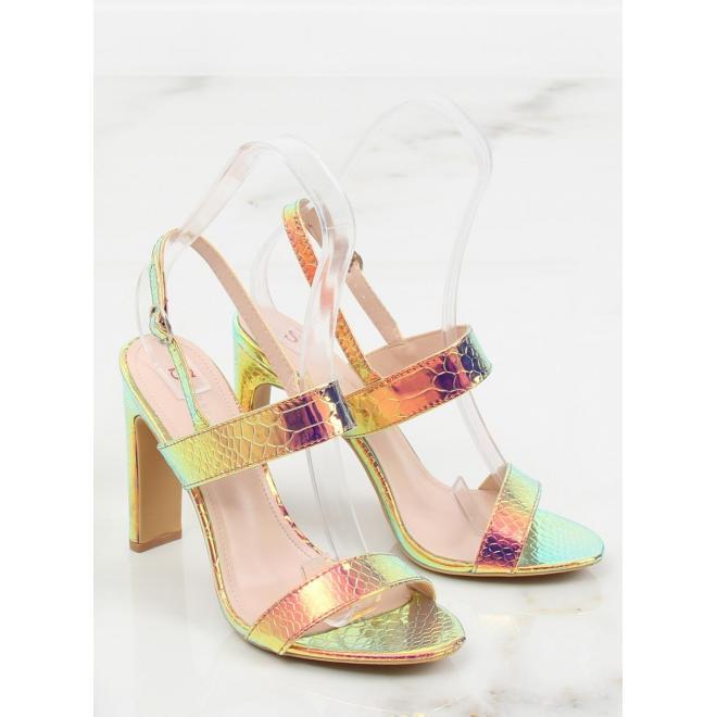 Dámske semišové sandále na stabilnom opätku v tmavomodrej farbe
