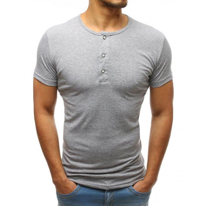 Bavlnené pánske tričko bielej farby s gombíkmi