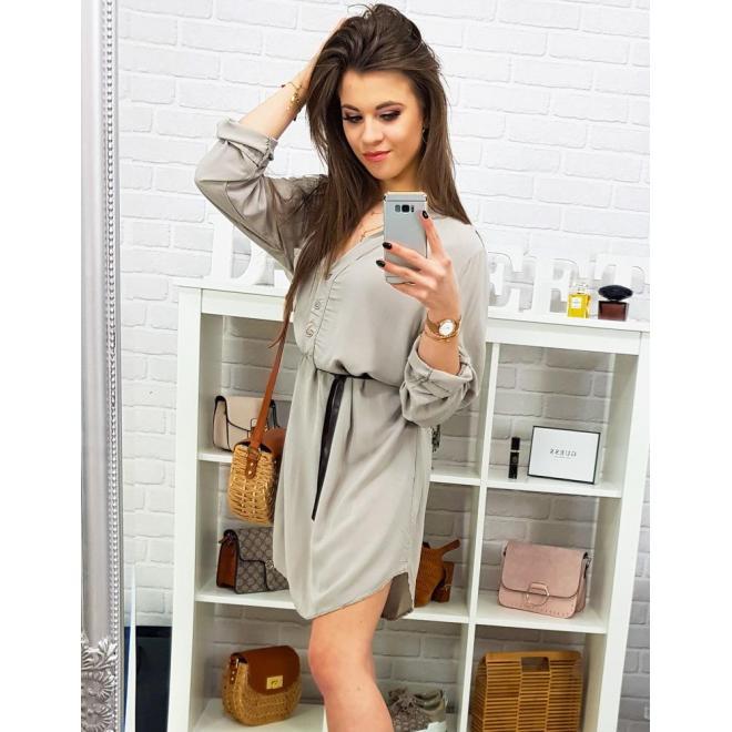 Dámske módne šaty s dlhým rukávom v hnedej farbe