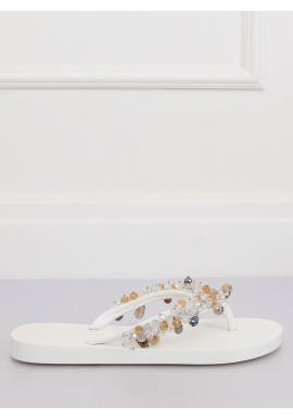 Strieborné gumené žabky s ozdobnými kameňmi pre dámy