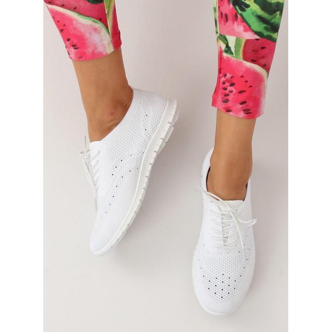 Dámske štýlové tenisky s ružovými prvkami v bielej farbe