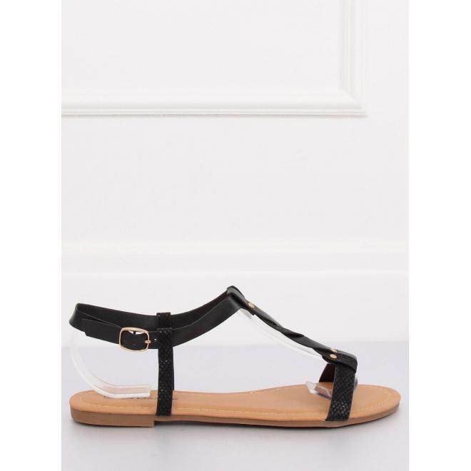 Matné dámske sandále čiernej farby na nízkom opätku