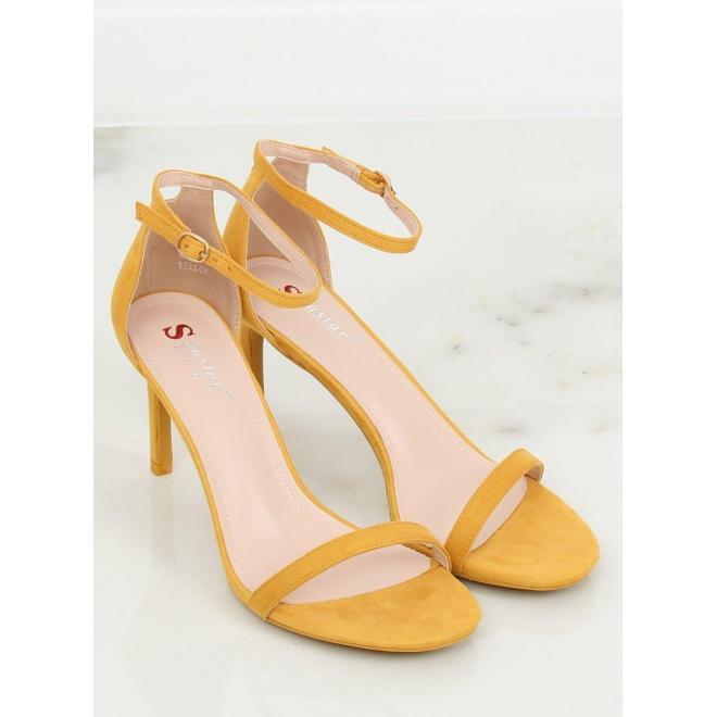 Semišové dámske sandále čiernej farby na štíhlom opätku