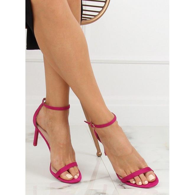 Žlté semišové sandále na štíhlom opätku pre dámy