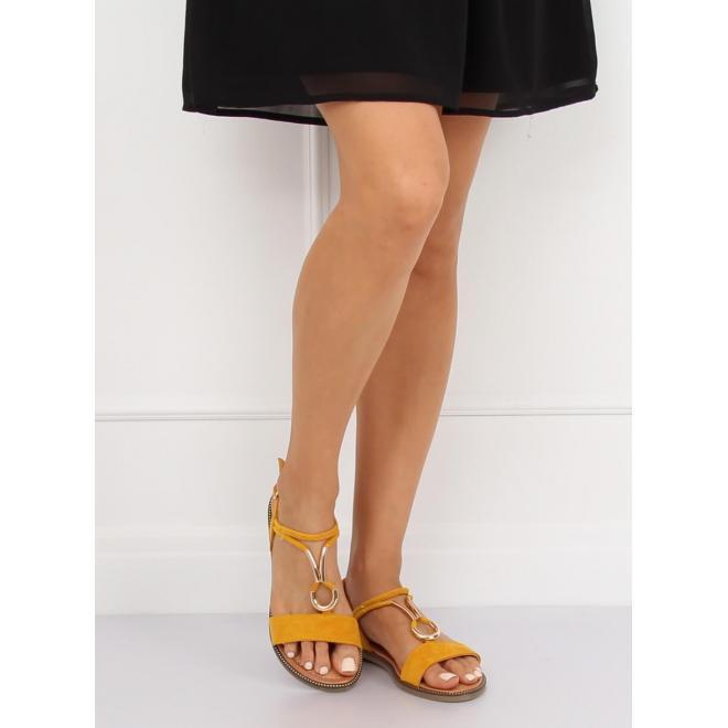 Ružové semišové sandále so zlatou ozdobou pre dámy