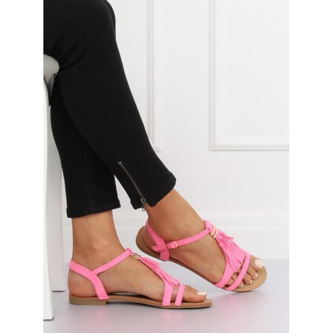 Dámske semišové sandále so strapcami v neónovo žltej farbe