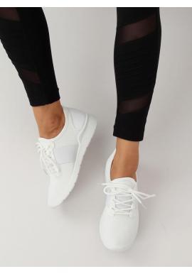 Módne dámske tenisky bielej farby s bielou podrážkou