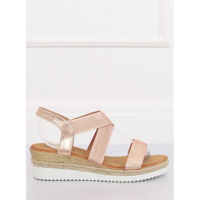 Dámske štýlové sandále s metalickými pásikmi v bielej farbe