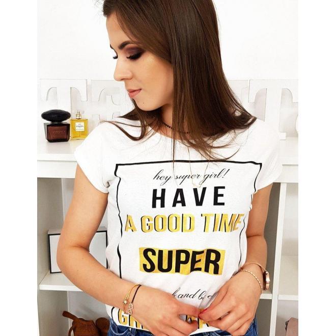 Módne dámske tričko limetkovej farby s potlačou