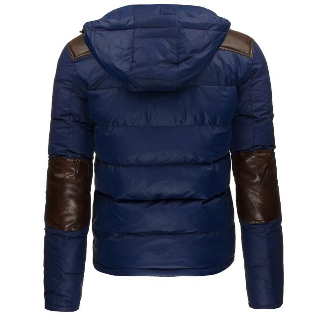 Prešívaná pánska bunda v tmavomodrej farbe